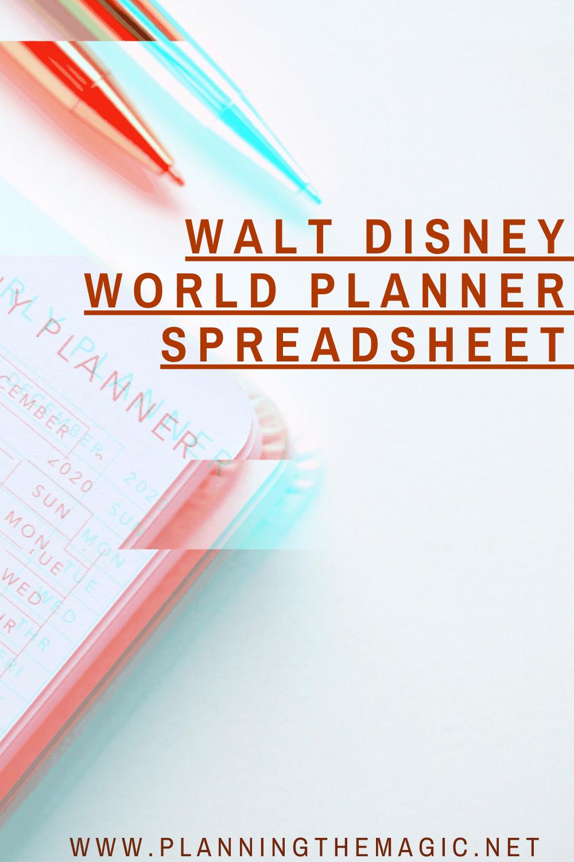 walt disney world planner spreadsheet